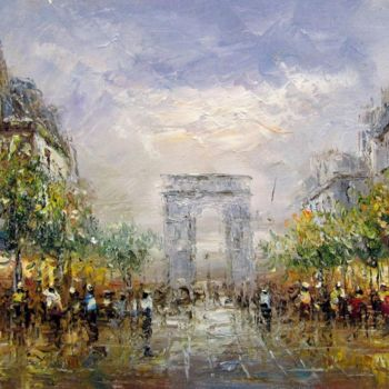 """Painting titled """"Paris #614"""" by Lermay Chiang, Original Art, Oil Mounted on Stretcher frame"""