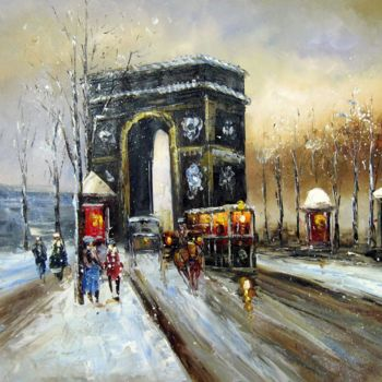 """Painting titled """"Paris #420"""" by Lermay Chiang, Original Art, Oil Mounted on Stretcher frame"""