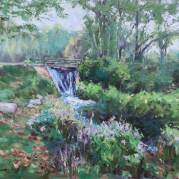 """Painting titled """"Little Waterfall"""" by Charles Jiao, Original Art, Oil"""
