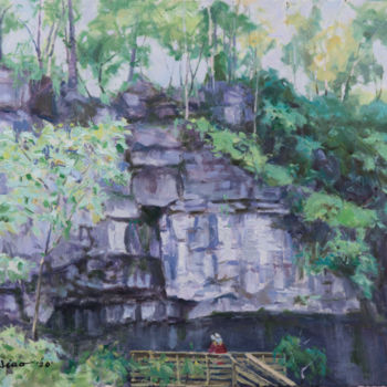 """Painting titled """"John Bryan Cliff"""" by Charles Jiao, Original Art, Oil"""