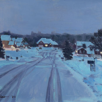 """Painting titled """"After A Snow Day"""" by Charles Jiao, Original Art, Oil"""