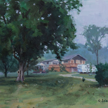 """Painting titled """"Morning Fog #2"""" by Charles Jiao, Original Art, Oil"""