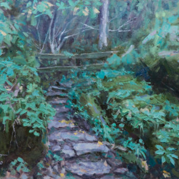 """Painting titled """"Stone Steps"""" by Charles Jiao, Original Art, Oil"""