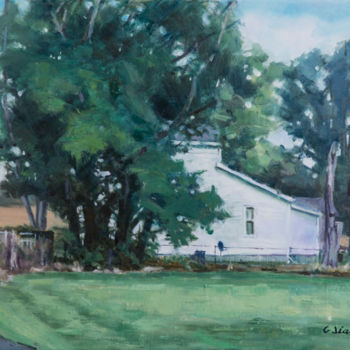 """Painting titled """"Little Farmhouse"""" by Charles Jiao, Original Art, Oil"""