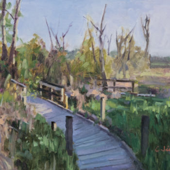 """Painting titled """"Boardwalk"""" by Charles Jiao, Original Art, Oil"""