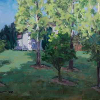 """Painting titled """"Backyard #2"""" by Charles Jiao, Original Art, Oil"""