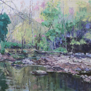 """Painting titled """"Fall In Indian Moun…"""" by Charles Jiao, Original Art, Oil"""