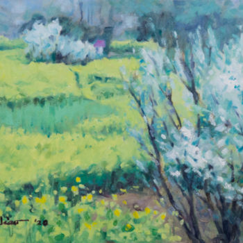 """Painting titled """"Rapeseed Flower Fie…"""" by Charles Jiao, Original Art, Oil"""