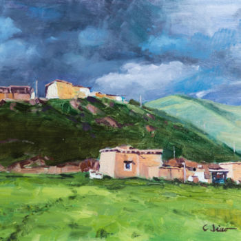 """Painting titled """"Mountain Dwellings"""" by Charles Jiao, Original Art, Oil"""