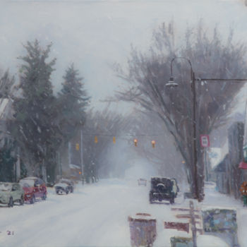 """Painting titled """"Snowy Street"""" by Charles Jiao, Original Art, Oil"""