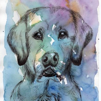 """Painting titled """"Chien bleu"""" by Christine Chaussade, Original Art, Watercolor"""