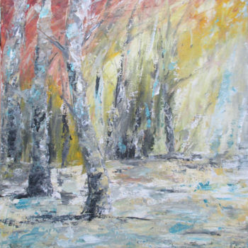 """Painting titled """"Arbre bouleau"""" by Christine Chaussade, Original Art, Acrylic"""