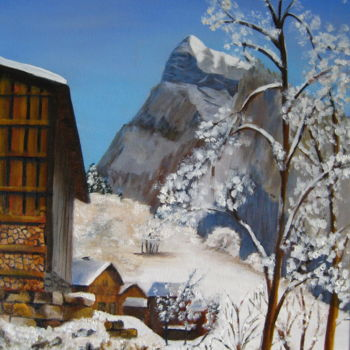 """Painting titled """"Le Criou a Samoens"""" by Christine Chevieux, Original Art,"""