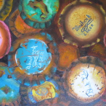 """Painting titled """"capsules"""" by Christine Chevieux, Original Art, Oil"""