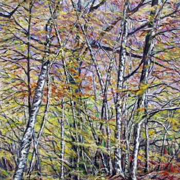 Forest Painting, oil, impressionism, artwork by Claude Evrard
