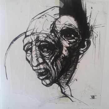 Drawing, ink, expressionism, artwork by Claude Duvauchelle