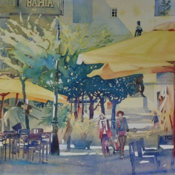 Painting, watercolor, figurative, artwork by Claude Marchalot
