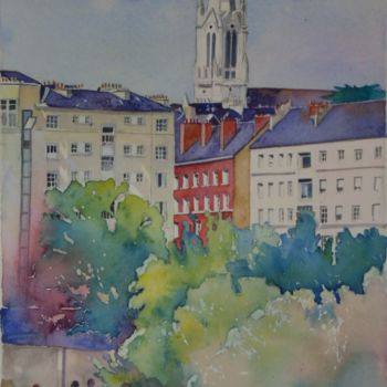 City Painting, watercolor, figurative, artwork by Claude Marchalot