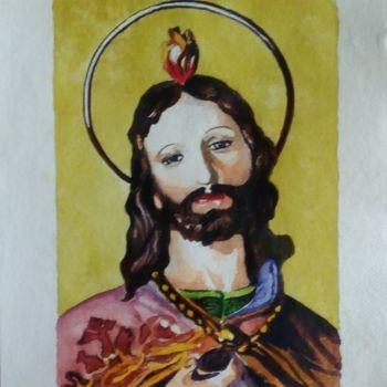 """Painting titled """"San Giuda Taddeo"""" by M.D-Agostino, Original Art, Watercolor"""