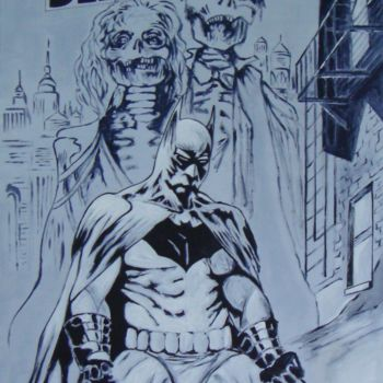 """Painting titled """"BATMAN"""" by M.D-Agostino, Original Art, Acrylic Mounted on Wood Panel"""
