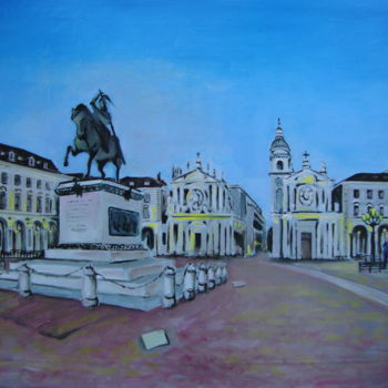 """Painting titled """"Piazza San Carlo-ol…"""" by M.D-Agostino, Original Art, Oil"""