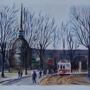 """Painting titled """"""""TORINO Tram Storic…"""" by M.D-Agostino, Original Art, Watercolor"""