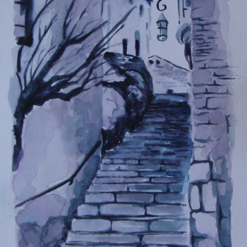 """Painting titled """"""""EZE Village"""" acque…"""" by M.D-Agostino, Original Art, Watercolor"""