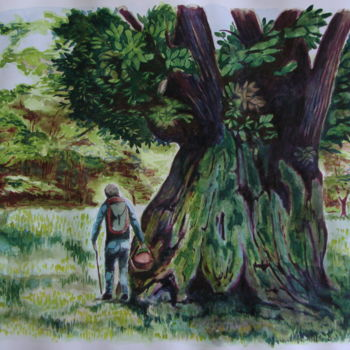 """Painting titled """"""""IL BOSCO, imponent…"""" by M.D-Agostino, Original Art, Watercolor"""