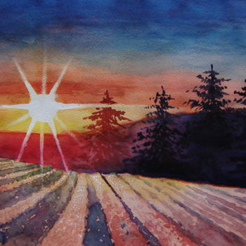 """Painting titled """"Tramonto sulla neve"""" by M.D-Agostino, Original Art, Watercolor"""