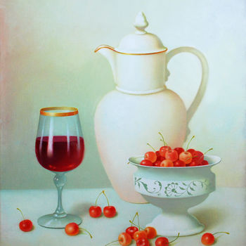 """Painting titled """"Still Life with gla…"""" by Dace Lapina, Original Art, Oil"""
