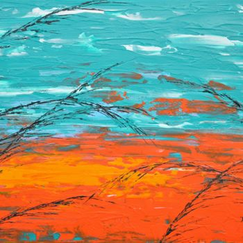 """Painting titled """"Grass In Turquoise…"""" by Daniel Urbaník, Original Art, Acrylic"""