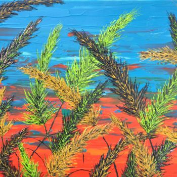 """Painting titled """"Grass And Turquoise…"""" by Daniel Urbaník, Original Art, Acrylic"""