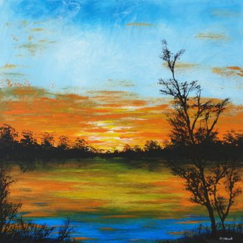 """Painting titled """"Sunset in the count…"""" by Daniel Urbaník, Original Art, Acrylic"""