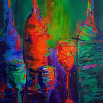 """Painting titled """"Bottles and Glasses"""" by Dawn Underwood, Original Art, Acrylic"""