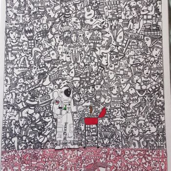 """Drawing titled """"Barbecue in Mars"""" by Juan Del Balso, Original Art, Ink"""