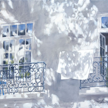 """Painting titled """"Fresh linen"""" by Dita Luse, Original Art, Oil Mounted on Stretcher frame"""