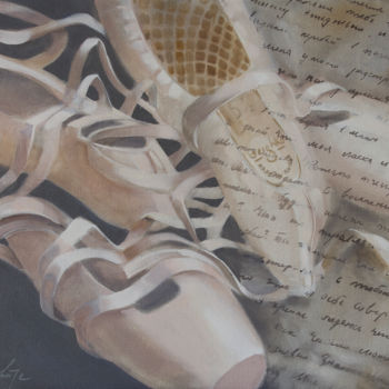 """Painting titled """"Pointe shoes"""" by Dita Luse, Original Art, Oil Mounted on Stretcher frame"""
