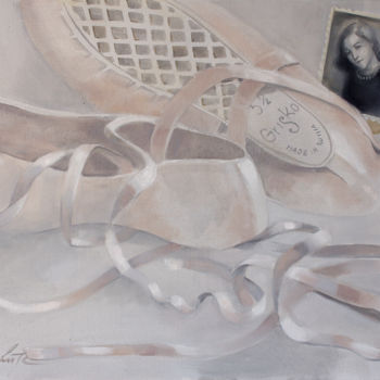 """Painting titled """"Pointe shoes II"""" by Dita Luse, Original Art, Oil Mounted on Stretcher frame"""