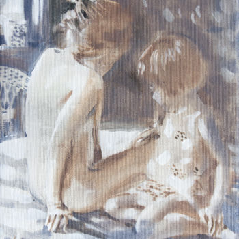 """Painting titled """"Sisters"""" by Dita Luse, Original Art, Oil Mounted on Stretcher frame"""