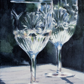 """Painting titled """"A Glass of light"""" by Dita Luse, Original Art, Oil Mounted on Stretcher frame"""