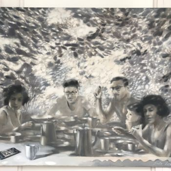 """Painting titled """"Family Portrait in…"""" by Dita Luse, Original Art, Oil Mounted on Stretcher frame"""