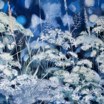 """Painting titled """"White Meadow"""" by Dita Luse, Original Art, Oil Mounted on Stretcher frame"""