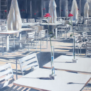 """Painting titled """"Parisian Cafe"""" by Dita Luse, Original Art, Oil Mounted on Stretcher frame"""