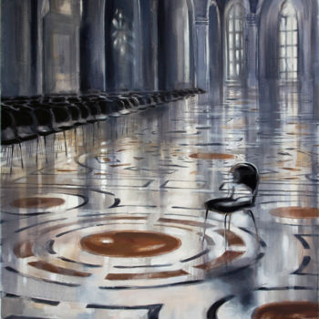 """Painting titled """"Black chairs"""" by Dita Luse, Original Art, Oil"""