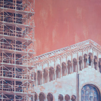 """Painting titled """"Architecture in pink"""" by Dita Luse, Original Art, Oil"""