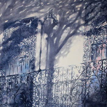"""Painting titled """"Balcony"""" by Dita Luse, Original Art, Oil Mounted on Stretcher frame"""