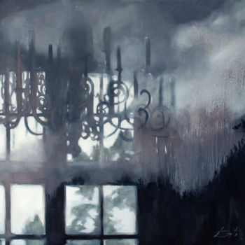 """Painting titled """"Clouds and candles"""" by Dita Luse, Original Art, Oil"""