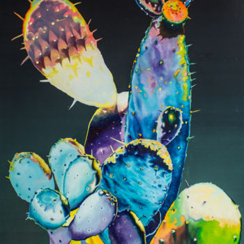 """Painting titled """"Psychedelic Cactus"""" by Dominic Virtosu, Original Art, Oil Mounted on Stretcher frame"""