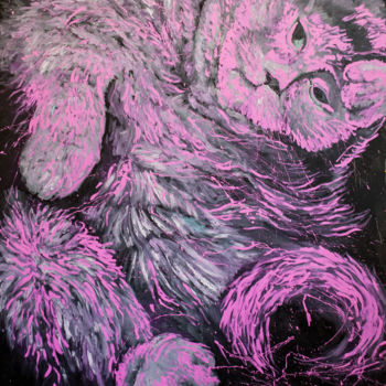 """Painting titled """"Pink Pussy"""" by Dominic Virtosu, Original Art, Oil Mounted on Stretcher frame"""