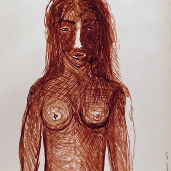 """Drawing titled """"Nude Ink painting o…"""" by Ulugbek Doschanov, Original Art, Ink"""